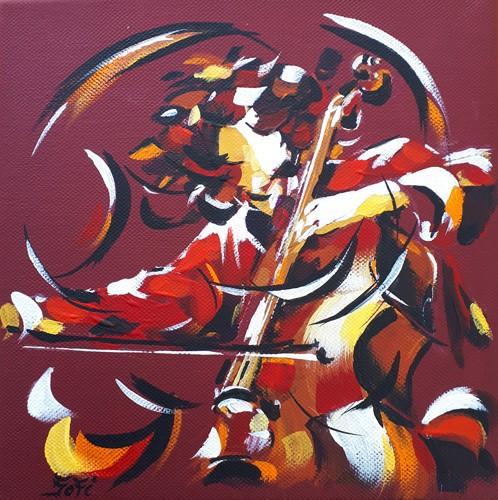 Le violoncelliste   20x20   Vendu